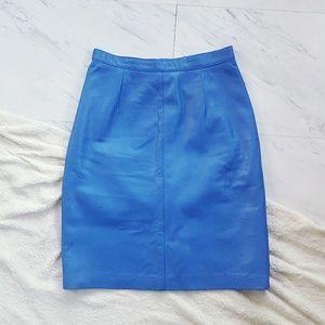 Vtg 80s Cobalt Blue Leather Pencil Skirt